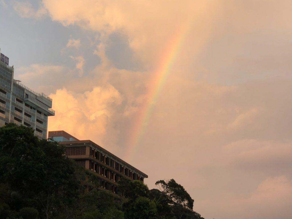 日月潭の虹